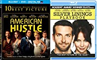Jennifer Lawrence Silver Linings Playbook + American Hustle Blu Ray 2 Pack Drama Academy Award Winner Movie Set Double