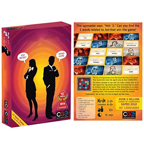 TiKiNi Codenamen Brettspiel, Vertrauliches Kartenspiel Familienbrettspiele Action-Kartenspiel Lustige Coole Party-Kartenspiele für 2 bis 8 Spieler Nur 15 Minuten(Englische Beschreibung)