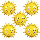 HAIOPS Sun Flower Foil Balloons Smiley Sunshine Sun Aluminum Balloon Birthday Wedding Decoration 26 inch-5PCS