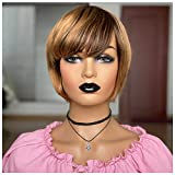 Mirthful Human Hair Straight Short Bob Wigs For Black Women Human Hair Wigs With Bangs Ombre Dark Brown Root to Medium Brown