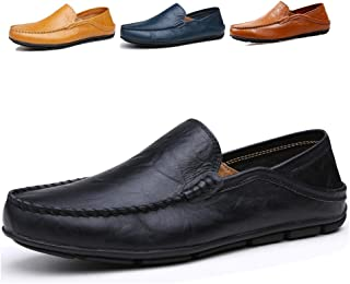 Lapens Mens Driving Shoes Premium Genuine Leather Fashion Slipper Casual Slip On Loafers Shoes