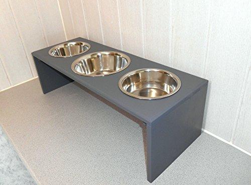 Futternapf / Hundenapf für Ihren Vierbeiner, tolle Futterbar mit 3 großen Edelstahlnäpfen. Handgefertigtes Hundezubehör und Tierbedarf. Lackierung in anthrazit! (0SP6))