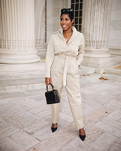 The Drop Women's Khaki Belted Jumpsuit by @highlowluxxe