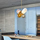 Modern Colored Glass Ball Chandelier LED Pendant Light Fashion Close to Ceiling Light Lamps for Dining Room Bedroom Living Room Children's Room