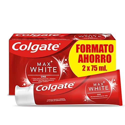 Colgate Max White One, Pasta de Dientes Blanqueante, Duplo - Pack 2 Uds x 75ml