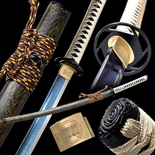 entez Katana Sword Handmade Japanese Samurai Sword Damascus Steel,Full Tang,Real Steel,Razor Sharp