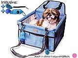 Autositz für Hunde - Hundeautositz für kleine und mittlere Hunde oder Welpen - Hundeautositz Hundesitz mit Gurt, Autositz für Hunde Rückbank, Auto Hundekorb, Klicker & Kotbeutel, jetzt Farbe wählen