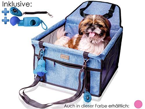 Autostoel voor honden - hondenautostoel voor kleine en middelgrote honden of puppy's - hondenautostoel hondenstoel met riem, autostoel voor honden achterbank, auto hondenmand, klikker & spatzak, keuze uit kleur, lichtblauw