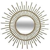 Atmosphera - Espejo de hielo de ratán, color beige con sol, diámetro 76 cm