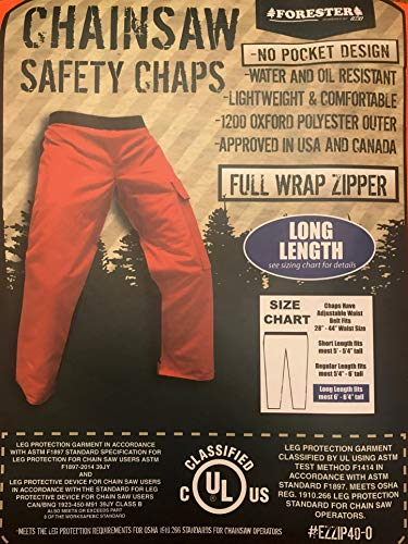 Forester Chainsaw Safety Chaps - Full Wrap Zipper - Orange (Long (40