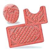 All American Collection 3PC Memory Foam Bath Mats Soft Plush Crown Design Anti-Slip Shower Bathroom Contour Toilet Lid Cover Rugs (Peach)
