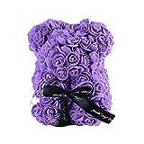 Lioobo - 1 oso de peluche hecho a mano con rosa y oso de peluche para boda, cumpleaños, San Valentín, regalo de graduación – morado