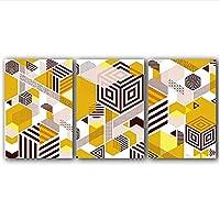 JXRDG 抽象的なポスタープリントモダンな茶色と黄色のキャンバス絵画幾何学的な壁アートリビングルームの写真装飾-50x70cmx3フレームなし