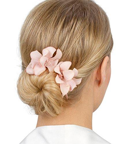 SIX Edler Haarschmuck: 2 silberne Haarspangen mit Textil-Orchideen, für jedes Haar geeignet, Breite 6 cm, rosa (488-073)