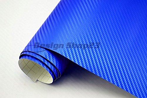 4,5€/m² Auto Folie 3D Carbon Folie - BLAU METALLIC - 100 x 152 cm BLASENFREI selbstklebend flexibel Car Wrapping