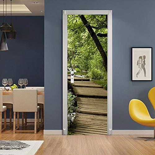 DFKJ Pegatinas de Puerta de diseño Moderno Papel Tapiz Chocolate Piano Caballo Autoadhesivo decoración de Sala de Estar Mural Arte A27 77x200cm