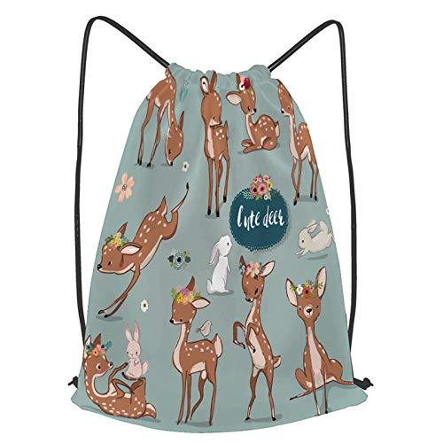 fudin Impermeable Bolsa de Cuerdas Saco de Gimnasio Establecer lindos ciervos liebres Deporte Mochila para Playa Viaje Natación