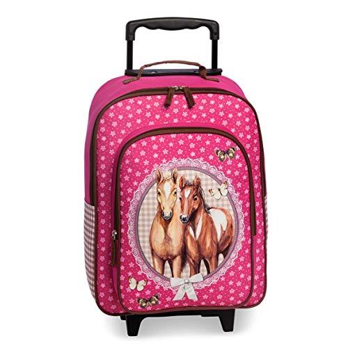 Kinder Trolley Kindergepäck Reisekoffer mit Packriemen und Rollen/Kids Trolley Verschiedene Lizenz Motive Freiwählbar (Pferde 2 Fächer)