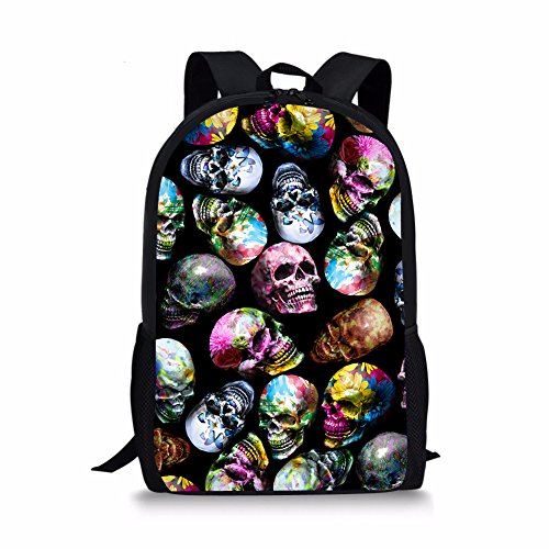 Showudesigns Skull Scholl Backpack with Water Bottle Holder Kids Boys Girls Bookbag Daypack