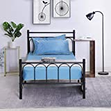 Alecono Metal Bed Frame Twin Size Platform Bed Vintage Style with Headboard No Box Spring Needed Black,Twin Size