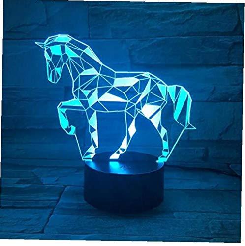 Canjerusof Animales de la Cebra 3D estéreo luz de visión Nocturna, 7 Colores se Pueden Cambiar lámpara de Mesa táctil Interruptor