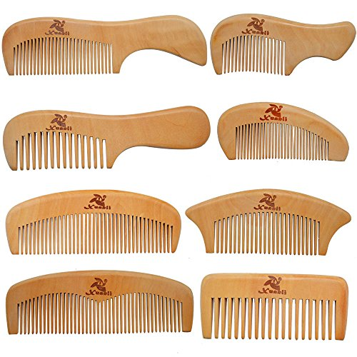 Xuanli 8 Pcs The Family Of Hair Comb set - Wood with Anti-Static & No Snag Handmade Brush for Beard, Head Hair, Mustache With Gift Box (S021)