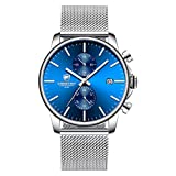 Men's Watch Fashion Sleek Minimalist Quartz Analog Mesh Stainless Steel Waterproof Chronograph Watches, Auto Date in Silver Hands, Color: Silver Blue