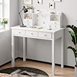 ADORNEVE Writing Desk with 7 Drawers, Home Office Desk/Student Desk Study Table,Computer Work Station with Detachable Hutch Writing Table, Solid Pine Wood Legs, White