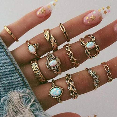 Aukmla Boho Knuckle Rings Set Gold Stackable Finger Rings Midi Size Joint Knuckle Ring Sets Hand Accessories for Women and Girls 12PCS
