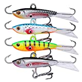Goture Ice Fishing Jigs with Treble Hook Single Hook for Walleye Winter Fishing Lures ice Jigging