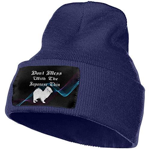 Don 't Mess avec Le Menton Japonais Unisexe Bonnet tricoté Chapeau de crâne de Mode Chapeaux à Tricoter