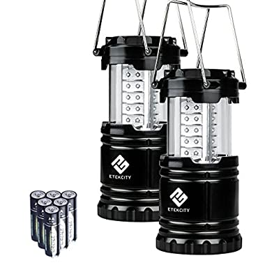Etekcity 2 Pack Portable LED Camping Lantern Flashlights with 6 AA Batteries - Survival Kit for Emergency, Hurricane, Outage (Black, Collapsible) (CL10)