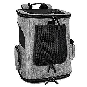 SlowTon Pet Carrier Backpack for Small Dog Cat, Airline Approved Puppy Kitten Foldable Carrier 4 Mesh Windows Carrying Backpack Case with Safety Hook Side Pockets Up to 16lbs for Travel Outdoor Use