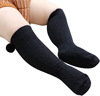Woqook 1 Pair Baby Girls Knee High Socks Pompom Ball Knit Cotton Socks for Kids