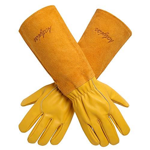 Gartenhandschuhe Damen Herren - Acdyion Rindsleder Gartenhandschuhe mit langem Unterarmschutz, Beschneiden oder Behandeln von Dornenzweigen für Kaktus Rose usw (Large, Gelb)