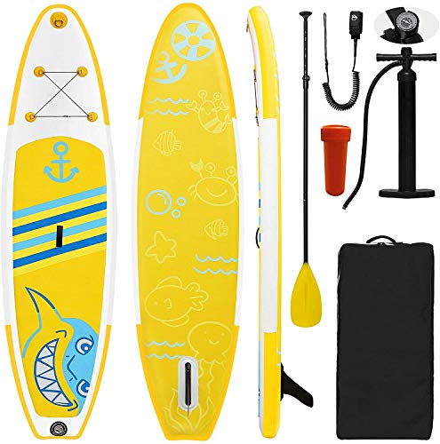 Tabla de surf de remo hinchable con accesorios premium, doble capa, grosor lateral, antideslizante, adecuada para remo, pesca, surf, yoga en el agua