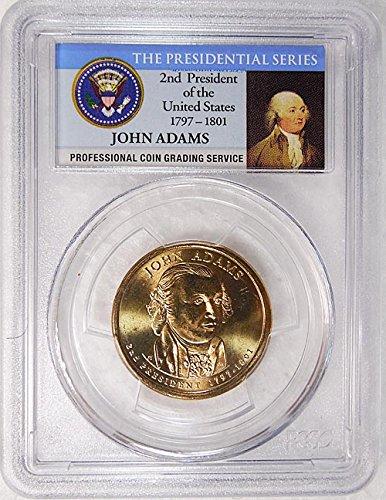 2007 P Pos. A John Adams Presidential Dollar PCGS MS 66 FDI Presidential Label Holder
