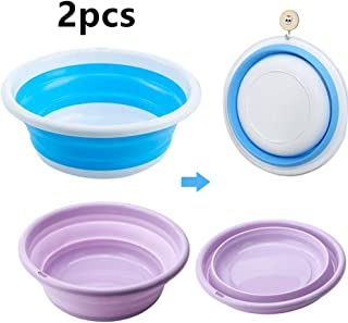 Multi-Purpose Collapsible Wash Basin, Portable Folding Catch Basin with Hanging Hole & Save Storage Space Plastic Basin, for Home Kitchen Outdoor Camping and More (Medium + Small, Blue+ Purple)