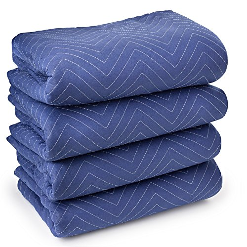 Sure-Max 4 Moving & Packing Blankets - Deluxe Pro - 80' x 72' (40 lb/dz weight) - Professional Quilted Shipping Furniture Pads Royal Blue