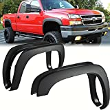 4Pack Front+ Rear Car Wheel Fender Flares Replacement For Chevy Silverado Compatible with GMC Sierra 1999-2006/2000-2006 Suburban Yukon Smooth Black Mudguards