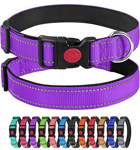 Joytale Collar Perro Reflectante,Nylon Collar Acolchado con Neopreno,para Caminar Correr Entrenamiento,Ajustable para Perros Mediano,35-50cm,Morado