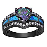 K Jewelry Mystic Rainbow Topaz Blue Fire Opal Heart Ring Black Gold Wedding Band (10)
