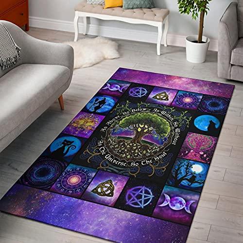 Funny Genevieve Celtic Area Rug, Magic Tree Rug, Celtic Tree Rug, Halloween Area Rug, Magic Witch Rug, Witch Purple Rug 24x36, 36x60, 48x72