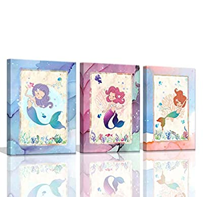 Mermaid Bathroom Pictures Wall Decor for Girls Room Decorations for Bedroom Teen Girls Bedroom Decor Watercolor Mermaid Wall Pictures for Bedroom Kids Room Decor for Girls Wall Art for Bathroom