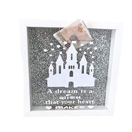 Kids White Money Box Disney Castle Design Gold Glitter DISNEY SAVING FUND GIFT