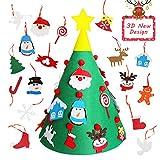 Fieltro Árbol de Navidad, árbol de Navidad de Fieltro para niños pequeños con Adornos de 17 Piezas para decoración navideña o Regalos para niños