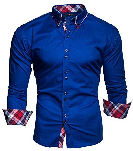 Kayhan  Herren Musteraermel Hemd, L, M-2020 Blau