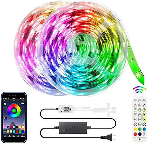 DUOLZ LED Strip Lights, Smart Bluetooth 5050 LED Strip Lights, with 24-Keys Remote Control, Support Music Sync Color Changing, Suitable for Home Party Decoration,20M