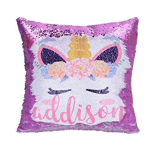 Personalized Unicorn Sequin Pillow with Name,