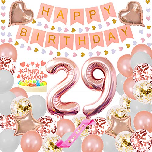 Happy 29TH Birthday Party Decorations Pack- Foil Number 29 Confetti Latex Balloons Star and Heart Foil Balloons Glitter Heart Hanging Paper Banner Happy Birthday Cake Topper Pink sash pertlife